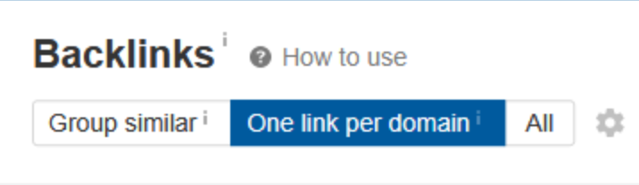one link per domain ahrefs feature